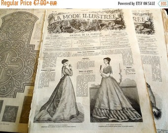 ON SALE La Mode Illustree 1868 Antique French Magazine, Art Deco Fashion 15 March 1868 French Vintage paper wrapping framing scrapbooking ep