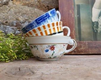 3 fine Porcelain tea cups coffee mug French Vintage, set lot cups and saucers fine white porcelain shabby chic espresso demitasse