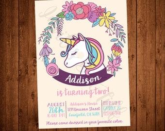 Unicorn Birthday Party Invitation (Printable, Unicorn Party Invitations, Rainbow Unicorn Birthday Party Invite, Magical Unicorns)