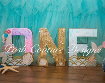 Mermaid ONE Letters/ Mermaid Letters/ Under The Sea Letters/ Mermaid Photo Prop/ Mermaid Centerpiece/ Mermaid First Birthday/ Mermaid Party