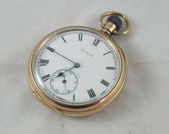 Art Deco 9ct gold Elgin hand wound mechanical pocket watch dated 1921