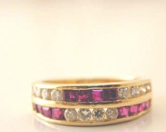 Channel set diamond and ruby ring 18 carat yellow gold 4g Size L