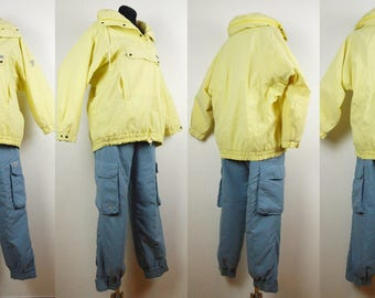 Vintage Ski suit, Ski jacket pants Gore-Tex by SCHOFFEL ski jacket yellow  and ski pants sky blue Size Jacket 42/10 Pants 48/8 100%  Nylon