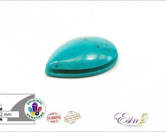 TURQUOISE (drop) - Grooved Cabochon for Macrame and Wirework - 25 mm