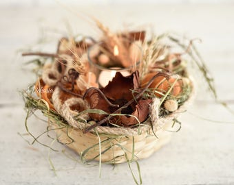 Natural candlestick arrangement, Table decoration, Kitchen decoration, Dried flowers decor, Christmas candlestick, Rustic arrangement