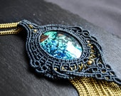 MACRAME Pendant with Chrysocolla, Tribal, Ethnic, Boho Jewelry, Bohemian, Hippie chic, Festival jewelry, Macrame necklace, Healing Crystal