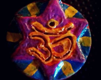 Magenta, Blue and Yellow Om Hexagram Pendant, Om Pendant, Hexagram Pendant, Om Star of David Pendant, Star of David Pendant, with red sides