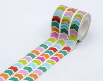 Japanese arrow washi tape - Colourful flags - 15mm x 10metres long