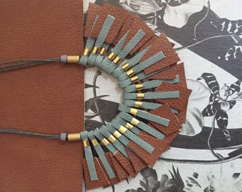 Statement Necklace - Geometric Necklace - Leather Necklace - Brown & Grey Necklace - Bib - Minimalist - OOAK