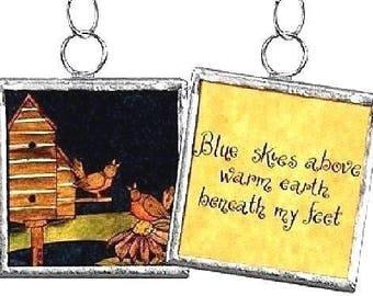 Birdhouse --- Reversible Framed Charm Ornament