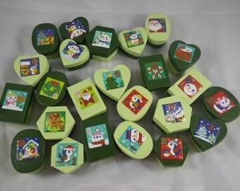 Calendrier08 - Small advent calendar boxes Green