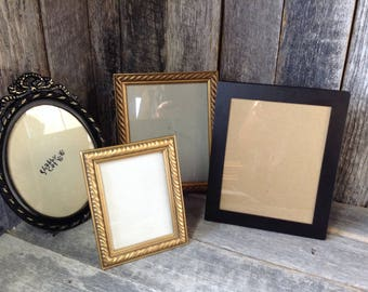 12 -Picture Frames - Set of 4- Table Top Collection - Vintage -Wedding- Ornate-Black-Gold-Shabby Chic