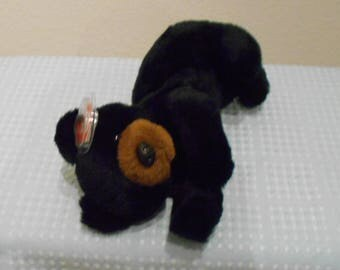 """Ty Classic Collection """"MIDNIGHT"""" The Sweet Black Bear Cub Laying Down! 11 Inches Long And Retired In 1995/New With Tags & Protector Adorable"""