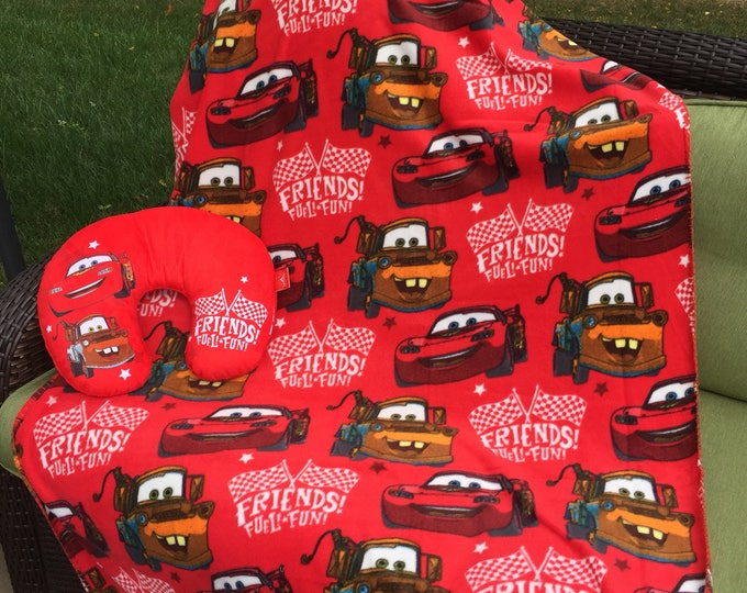 Disney Cars Toddler Travel Neck Pillow & Throw Set  - Personalized