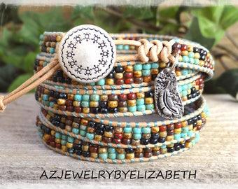 Boho Beaded Leather Wrap/ Seed Bead Leather Wrap Bracelet/ Southwestern Wrap Bracelet/ Southwest Leather Bracelet/ Native American Bracelet.