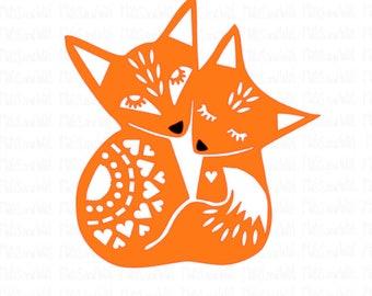 Fox svg/png/dxf/folk art fox/cuddling foxes svg/digital download cut file/Silhouette/Cricut cutting machine/woodland svg/mandala fox/no zip