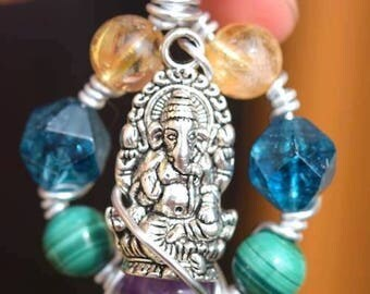 Ganesha malachite Amethyst apatite