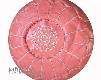 New Spring Color- Coral Leather Pouf / Ottoman