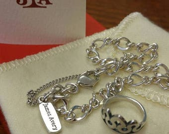 Summer Sale Pre Loved Vintage James Avery 925 Silver Forged Link Charm Bracelet with Two Charms 6 5/8 inch