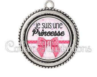 Cabochon 25mm pendant I am a Princess 029ROS01