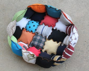 Cat Bed with Soft Sides, Little Dog Bed, Washable Pet Bed, Dog Pillow, Pet Cushion, Recycled Rag Bed, Crate Mat, Puppy Pillow, Cat Nap Bed