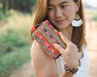 Handcrafted Vintage Mini Zip Purse for Women, Pom Pom Wallet for Women, Gift Wallet from Thailand, Boho Purse, Fair Trade Purse - WA302VC