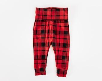 Baby leggings/ Size 3-6 months/Baby Girl leggings/Red Plaid leggings/Baby pants/Newborn gift/Baby shower gift/Baby gift/LAST ONE!