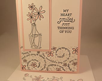 FLOWERS In SASSY PINK Vase Hand Stamped Greeting Card for All Occasions