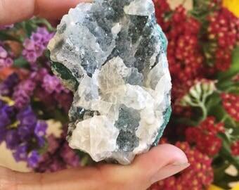 Atacamite, Chrysocolla, Calcite + Druzy Quartz aka Gem Silica: Lily Mine - Peru