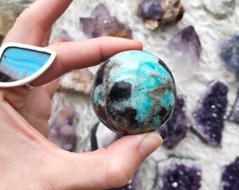 Amazonite & Smoky Quartz crystal sphere