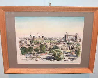 8208: Vintage Gordon Sommers Pencil Signed  Numbered Framed Lithograph Print The Tower of London & Tower Bridge c1960s Vintageway Furniture