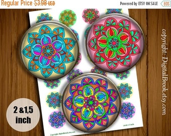 SALE 50% Digital Collage Sheet Colour Mandala 2 inch 1.5 inch Printable circle images for Pocket Mirrors Magnets Labels Pendan - 020