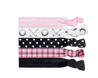 Womens Golf Elastic Hair Ties Love Preppy Sports Hair Tie Bracelet Ponytail Holder Plaid Golf Gifts For Women