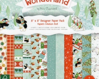 CHRISTMAS WONDERLAND 8 x 8 ins Designer Paper Pack for Card Making, Scrapbooking, Brand New by Dovecraft, Helz Cuppleditch