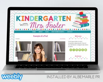 Premade Weebly Template for Teachers // Weebly Classroom Blog Design // Teacher Template - Mrs. Foster