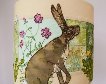 Fabric kit (with or without lampshade kit) and pattern for hare and dandelion lampshade raw edge applique tutorial free motion embroidery