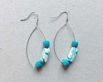 Leaf clay beads dangle earrings