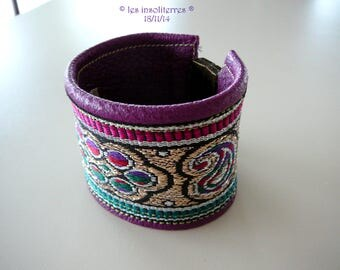 Cuff ethnic Parma violet genuine leather ethno chic braid Indian magnetic clasp