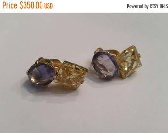 SALE Vintage Jarin Earrings Yellow Purple Sterling Gold Setting 925