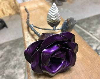 Purple metal rose handmade
