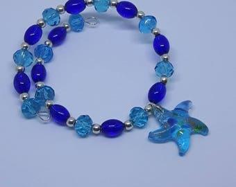 Starfish Bracelet, Starfish Charm, Starfish Jewelry, Wire Wrap Bracelet, Boho Jewelry, Beaded Bracelet, Beach Jewelry, Memory Wire, Wrapped