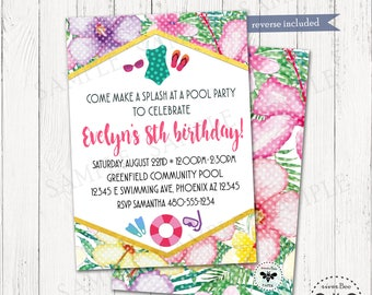Floral Pool Party Invitation Printable, Summer Birthday Party Invite, Digital DIY Inviation, Tropical Pool Party Invite, Fun Beach Party