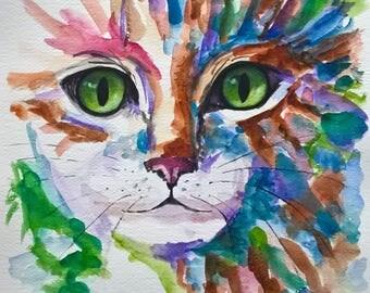 original cat art, kitten painting, cat portrait, abstract cat art, cat painting, pet portrait, cat lover gift, home decor, gift for children