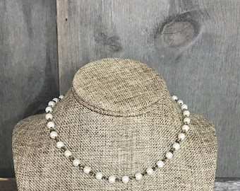 Pearl Choker Necklace, Bronze Necklace, Customized Jewelry, Bursting Barns Designs