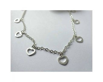 925 Sterling Silver Heart Charms Necklace