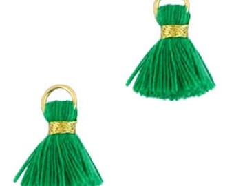 Beaded tassels, tassels, tassel pendant-1.5 cm-3 pcs.-Color selectable (color: Green 2)