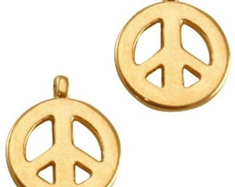 "DQ Metal Pendant ""Peace""-2 pcs-Zamak-color selectable (color: Gold)"
