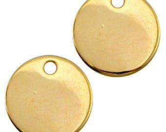 DQ metal Gravurplättchen, blank pendant-1 piece-gold-Zamak-Ø selectable (Ø:: 15 mm)