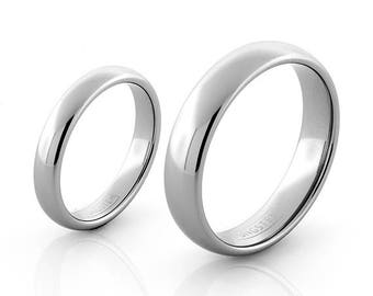 Tungsten Wedding Band, His And Her Promise Ring, Classic Silver Ring,  Matching Tungsten