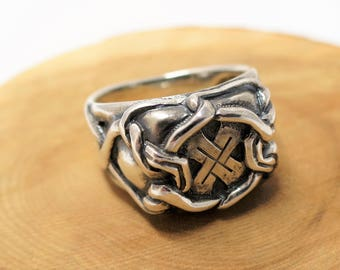 Mens signet ring sterling silver personalized gift for men